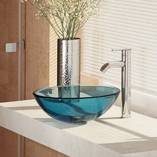 Best Deals Glass Circular Vessel Bathroom Sink with Faucet By René By Elkay