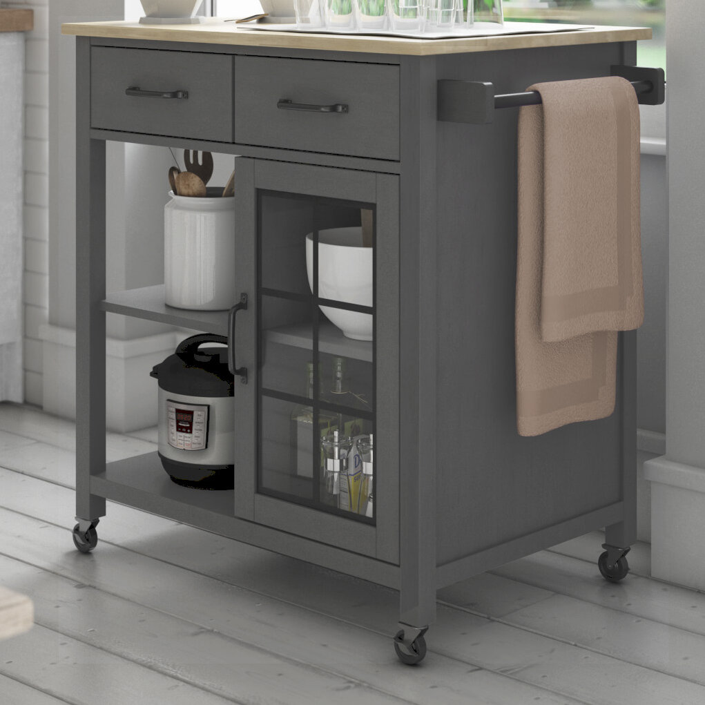 Laurel Foundry Modern Farmhouse Amata 32 Kitchen Cart With Solid Wood Top And Locking Wheels Reviews Wayfair