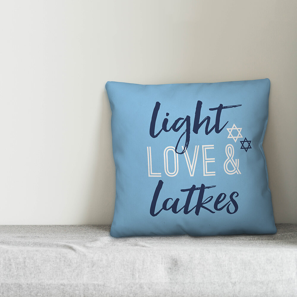The Holiday Aisle Woodley Light Love And Latkes Throw Pillow Wayfair