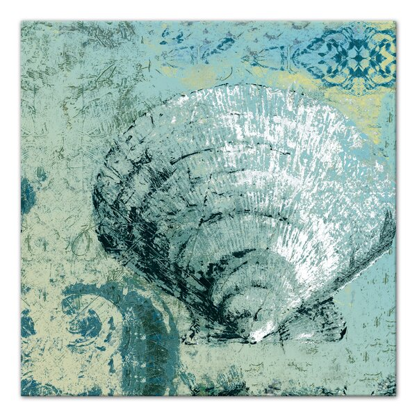 'Sea Green Clam Shell Coastal' Green Canvas Art - Beach Ocean Sea Decor