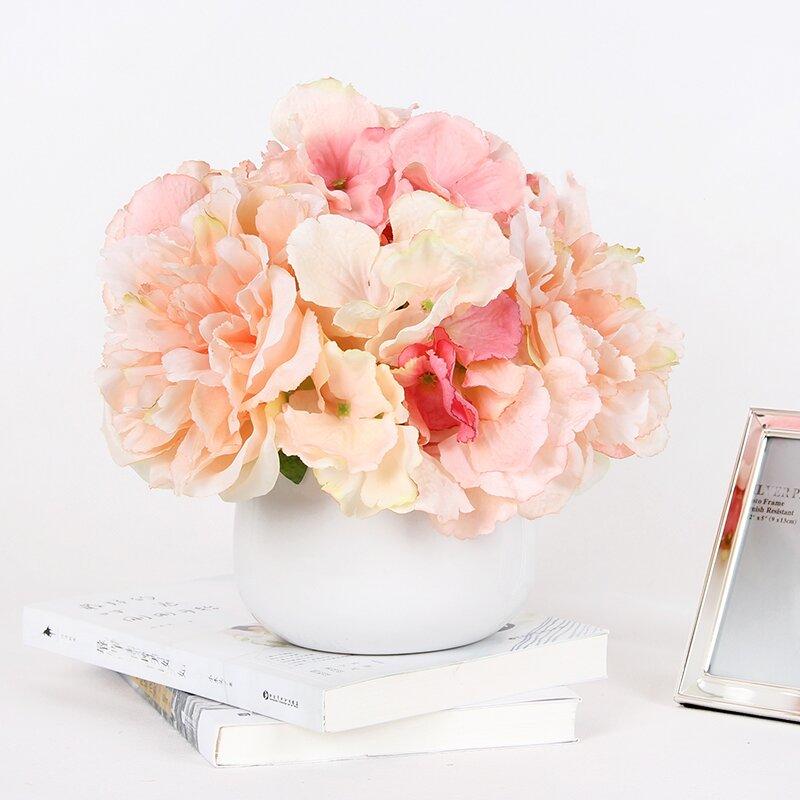 681f4e735 Light Hydrangea Peonies Floral Arrangement in Vase