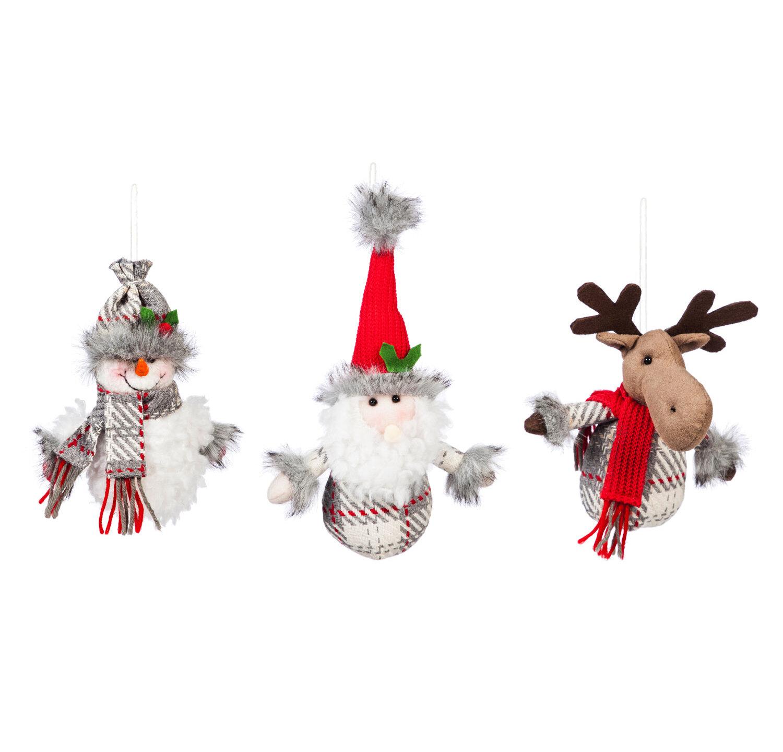 The Holiday Aisle 3 Piece Fabric Santa Snowman Moose Hanging Figurine Ornament Set Reviews Wayfair