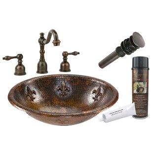 Premier Copper Products Fleur De Lis Metal Oval Drop-In Bathroom Sink with Faucet