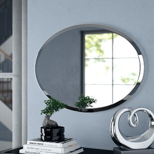 Provenzano Frameless Beveled Oval Wall Mirror By Orren Ellis