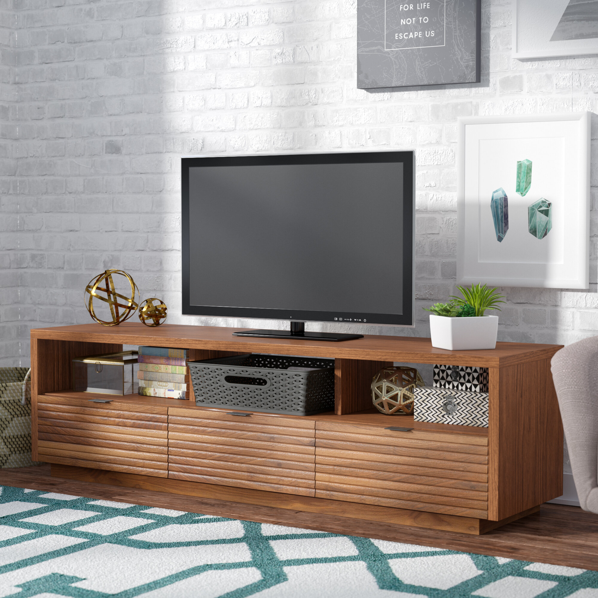 tv stand ideas mercury row posner 72 4 quot tv stand amp reviews wayfair 29781