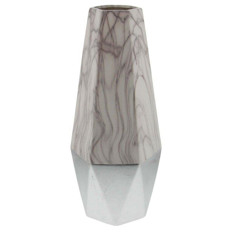 Bloomsbury Market Osmond Brown And White Ceramic Floor Vase Wayfair