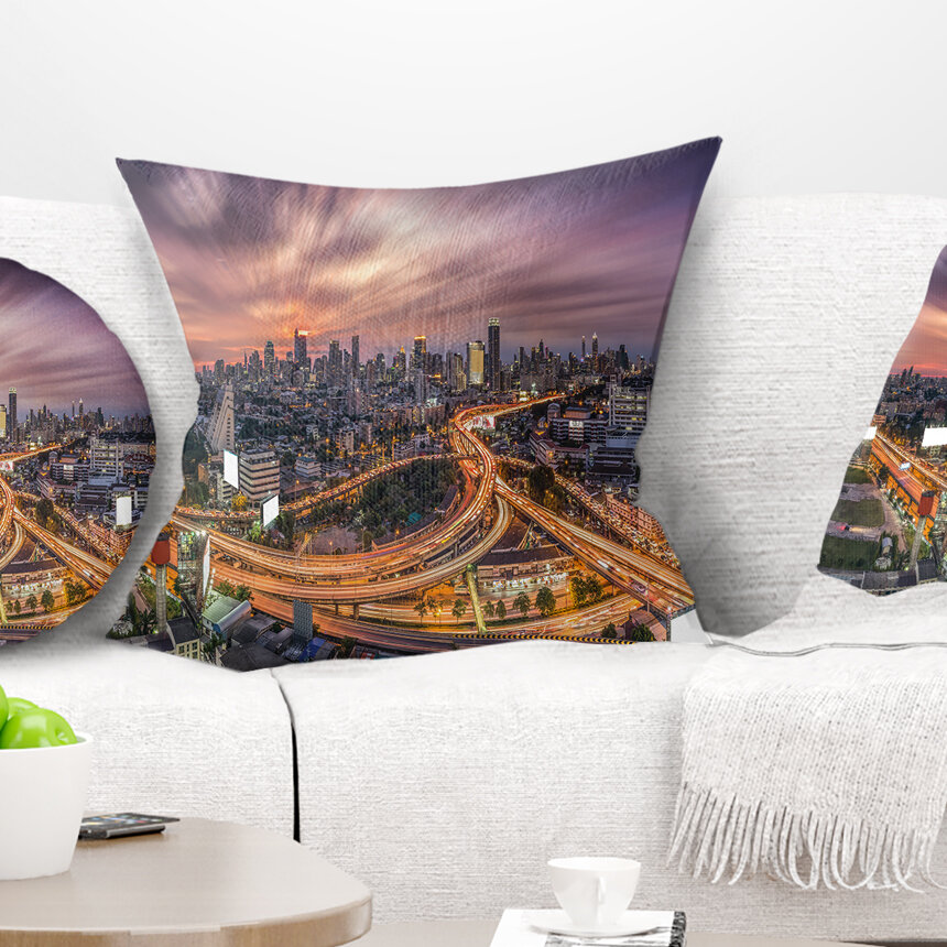East Urban Home Cityscape Bangkok S Shaped Express Way Pillow Wayfair
