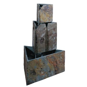 Natural Stone Hillsborough Stacked Triangles Floor Fountain