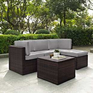 Belton 5 Piece Rattan Sectional Set with Cushions