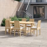 Anthony Outdoor Patio 7 Piece Teak Dining Set with Cushion