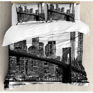 Modern Brooklyn Bridge Sunset with Manhattan American New York City Famous Town Image Duvet Cover Set