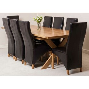 Baldev Kitchen Solid Oak Dining Set With 8 Chairs By Rosalind Wheeler