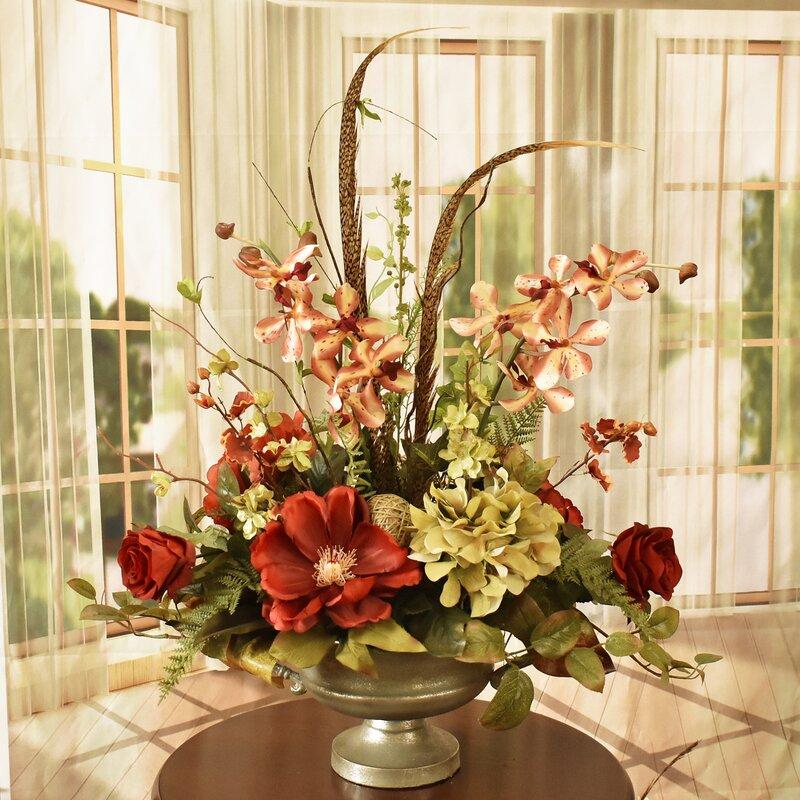 Floral Home Decor Burgundy And Green Mixed Silk Arrangement Reviews Wayfair