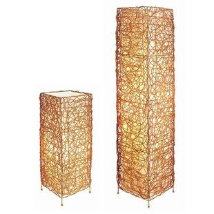 ORE Furniture Wicker 2 Piece Table and Floor Lamp Set