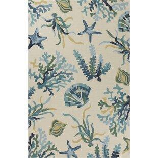 Boornazian Hand-Woven Ivory/Blue Indoor/Outdoor Area Rug