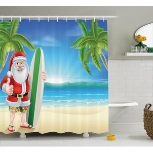 Best Reviews Christmas Santa with Surfboard Shower Curtain By The Holiday Aisle