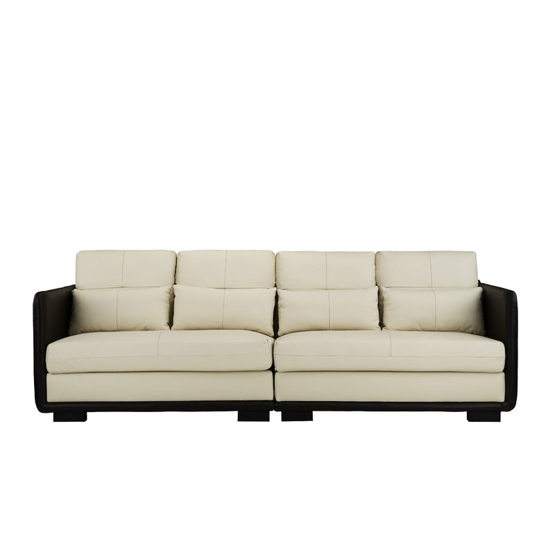 Ebern Designs Kiana 2 Piece Convertible Leather Sofa | Wayfair