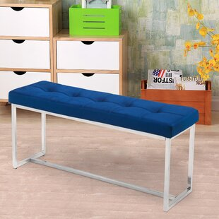 Chiara Stainless Steel Entryway Bottom Long Upholstered Bench by Everly Quinn