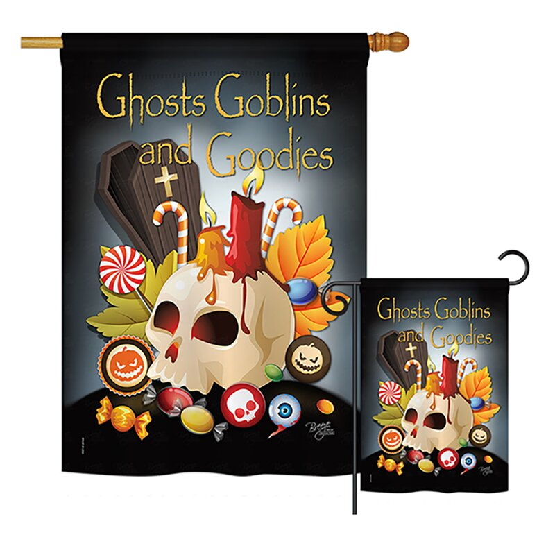 Breeze Decor 2 Piece Ghosts Goblins And Goodies Fall Halloween Impressions Decorative Vertical 2 Sided Polyester Flag Set Wayfair