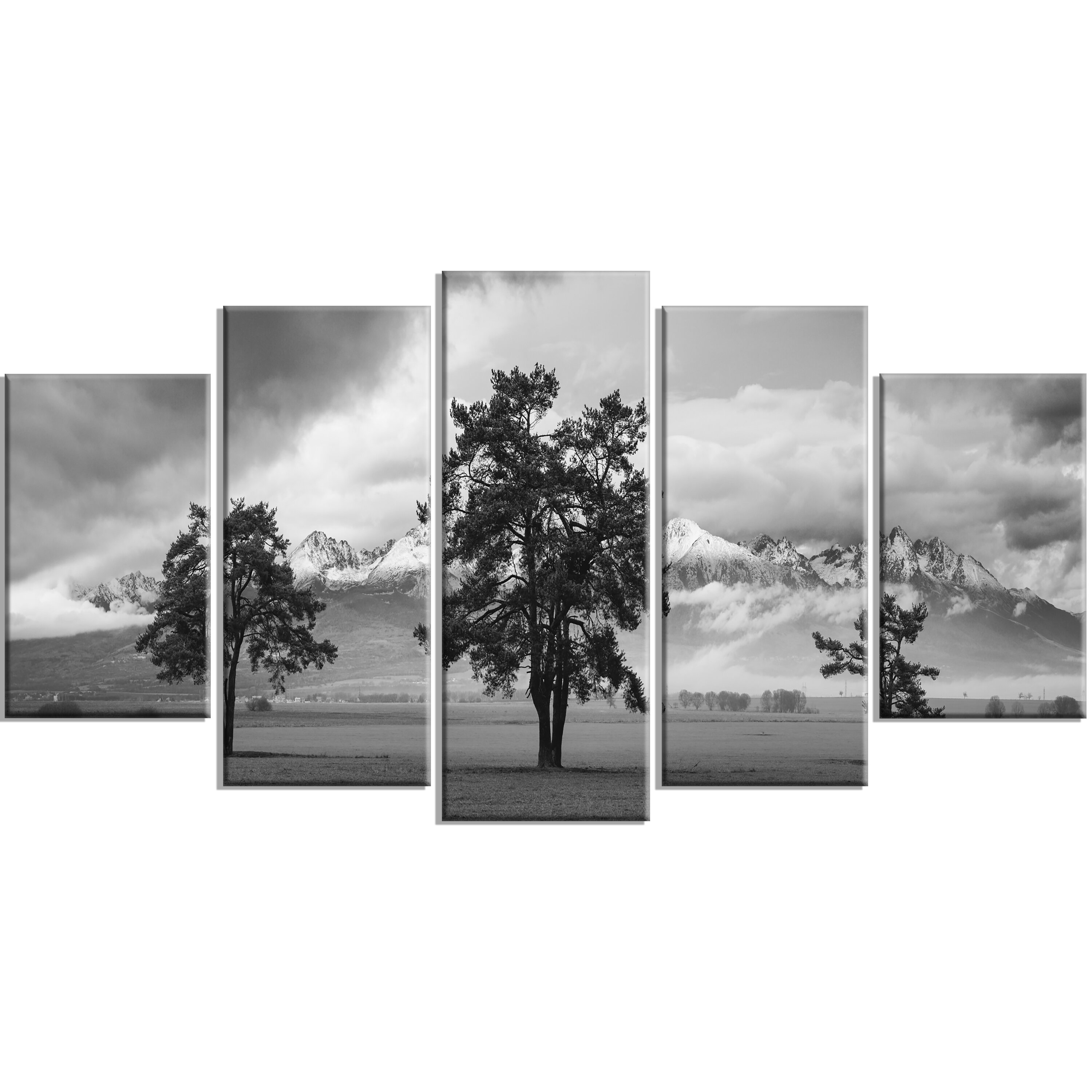 Designart Three Trees In Front Of Mountains 5 Piece Wall Art On Wrapped Canvas Set Reviews Wayfair