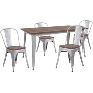 Pridgen 5 Piece Solid Wood Dining Set Williston Forge
