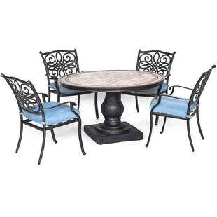 Three Posts Borquez 5 Piece Dining Set with Cushions