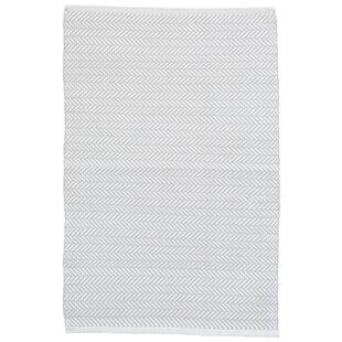 Herringbone Handwoven Pearl Grey/White Rug By Dash & Albert Europe