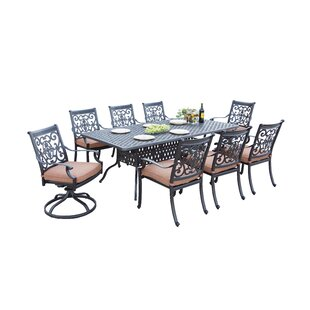 Astoria Grand Mccraney Traditional 9 Piece Dining Set with Cushions