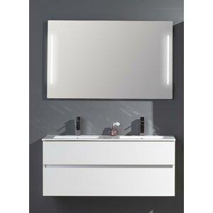 Belfry Bathroom 121 cm Wandbefestigter Waschtisch für Doppelbecken Ceramic Line mit Spiegel