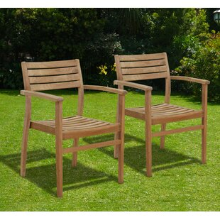 International Home Miami Canberra Stacking Teak Patio Dining Chair (Set of 2)