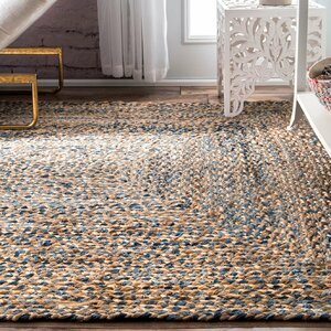 Destrie Hand-Braided Blue Area Rug