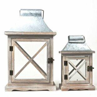 2 Piece Wood/Zinc Lantern Set by Gracie Oaks