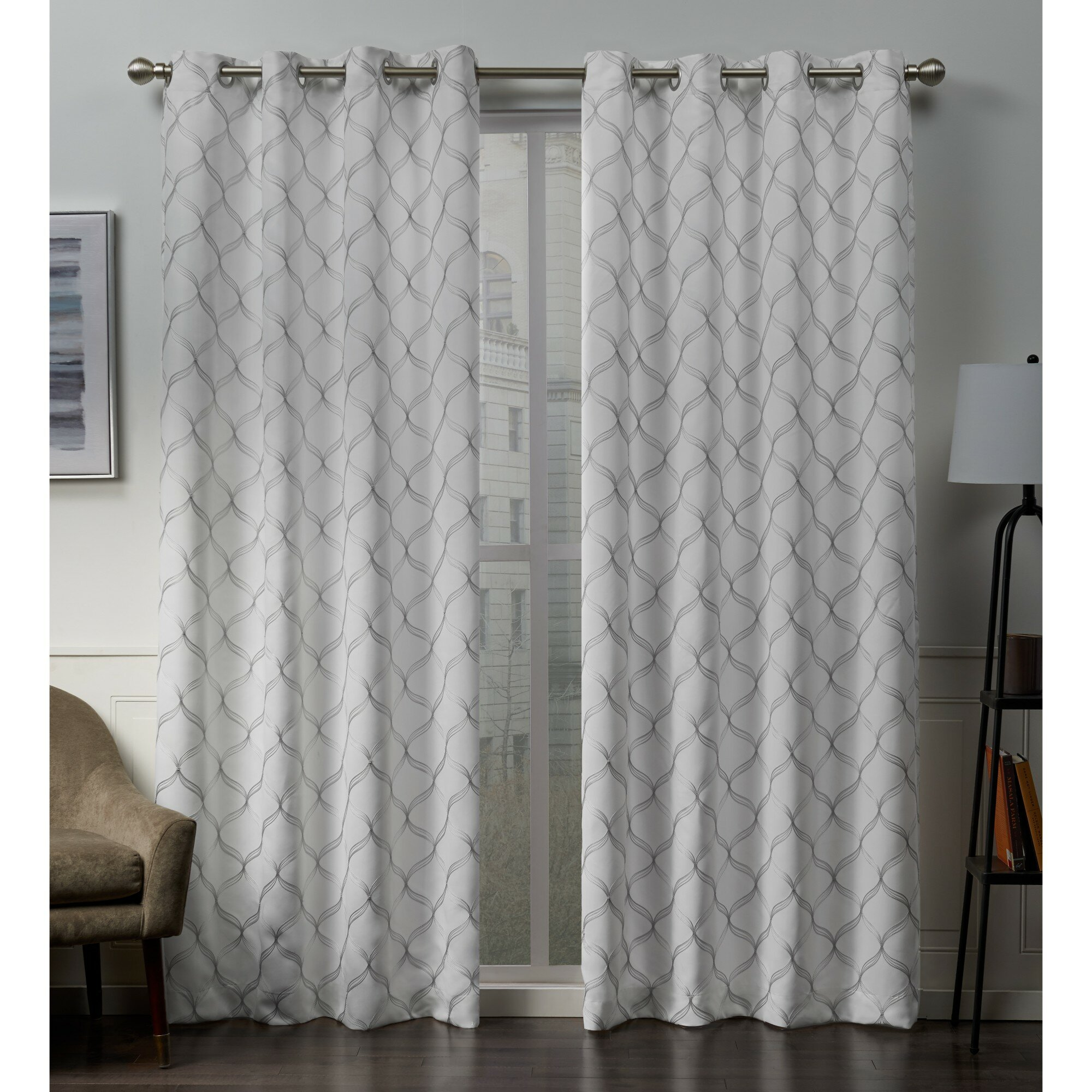 Darby Home Co Belisle Embroidered Geometric Blackout Thermal Grommet Curtain Panels Reviews Wayfair