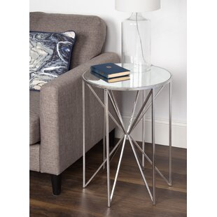 Attirant Petrucci Round Mirrored Metal End Table By Orren Ellis