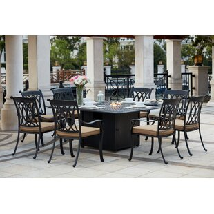 Astoria Grand Melchior Traditional 9 Piece Dining Set with Cushions