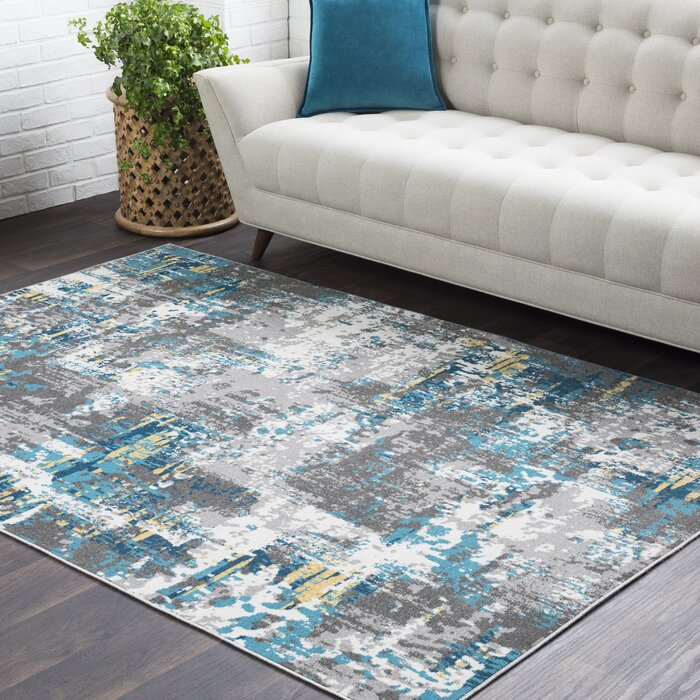 Lovely Azurine Distressed Abstract Teal/Grey Area Rug
