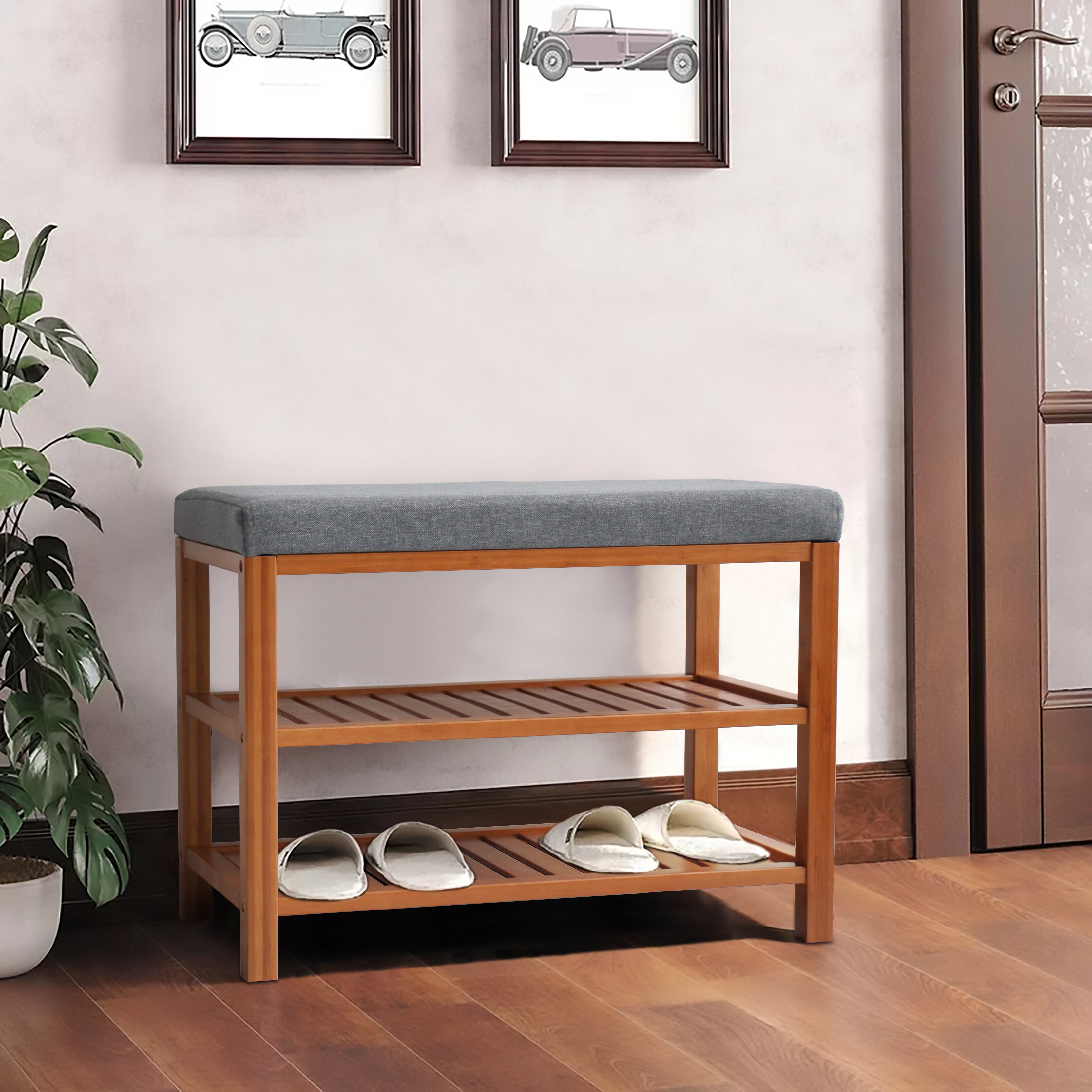 Durable Entry Bench Bathroom Bench Living Room//Entryway Organizer 3-Tier Shoe Rack Bench with Storage Shelf Bamboo Storage Bench