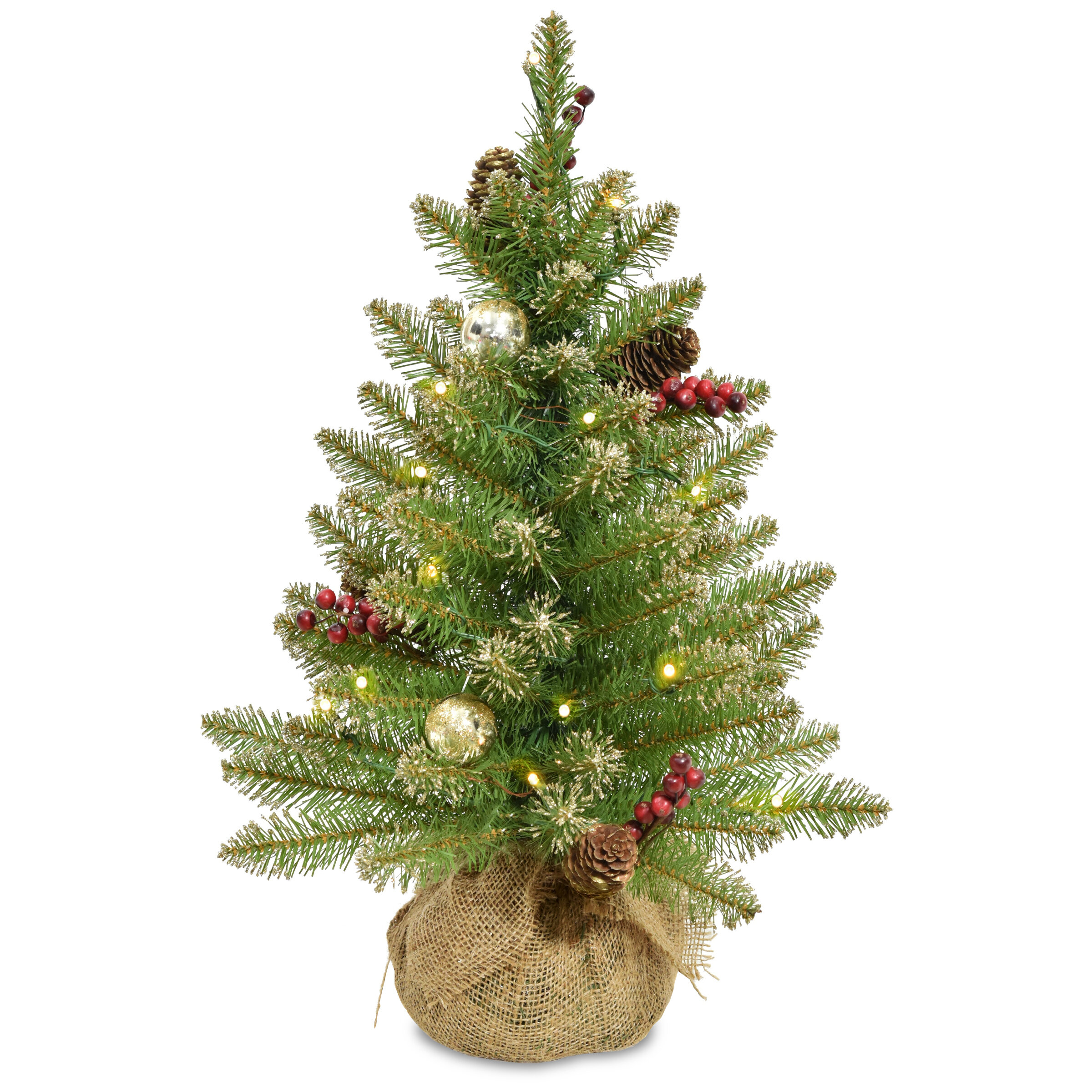 Glittery 2 Green Champagne Gold Fir Artificial Christmas Tree With 15 Warm White Lights With Timer