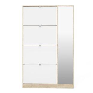 Rebrilliant Ridgley 4 Flap Door and 1 Mirror Door 24 Pair Shoe Storage Cabinet