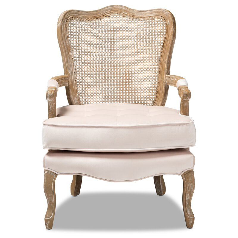 Briony Traditional French Provincial Velvet Fabric Upholstered Armchair