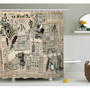 Leonide Clock Antique Accessories Design Old Fashion Magazine Sewing and Writing Tools Single Shower Curtain