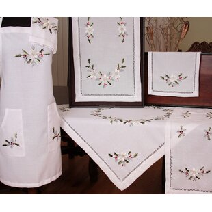 Country Poinsettia Embroidered Hemstitch Tablecloth