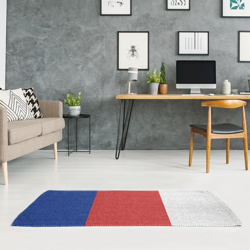 East Urban Home Chicago Flatweave Blue Red White Rug Wayfair