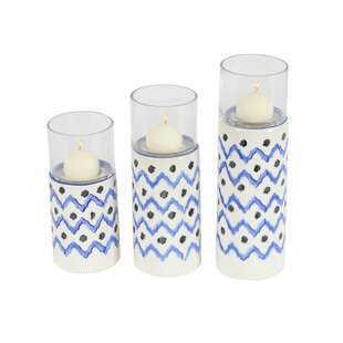 3 Piece Ceramic/Glass Hurricane Set