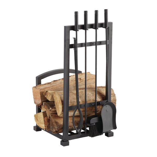 Pleasant Hearth Piece Harper Fireplace Log Holder And Tool Set