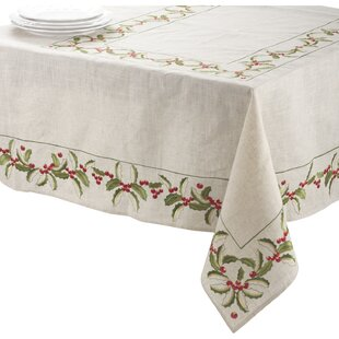 Embroidered Holly Tablecloth