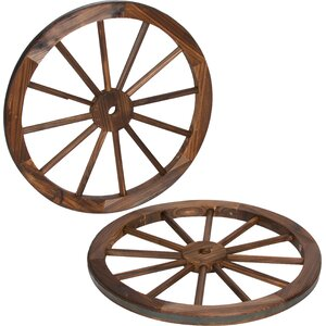 Decorative Vintage Wood Garden Wagon Wheel Wall Du00e9cor (Set of 2)