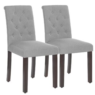 Aveiro Tufted Upholstered Parsons Chair in Light Gray Set of 2 by Winston Porter