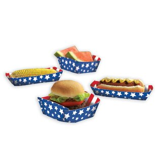 Patriotic Stars and Stripes Paper Food Tray (Set of 16)