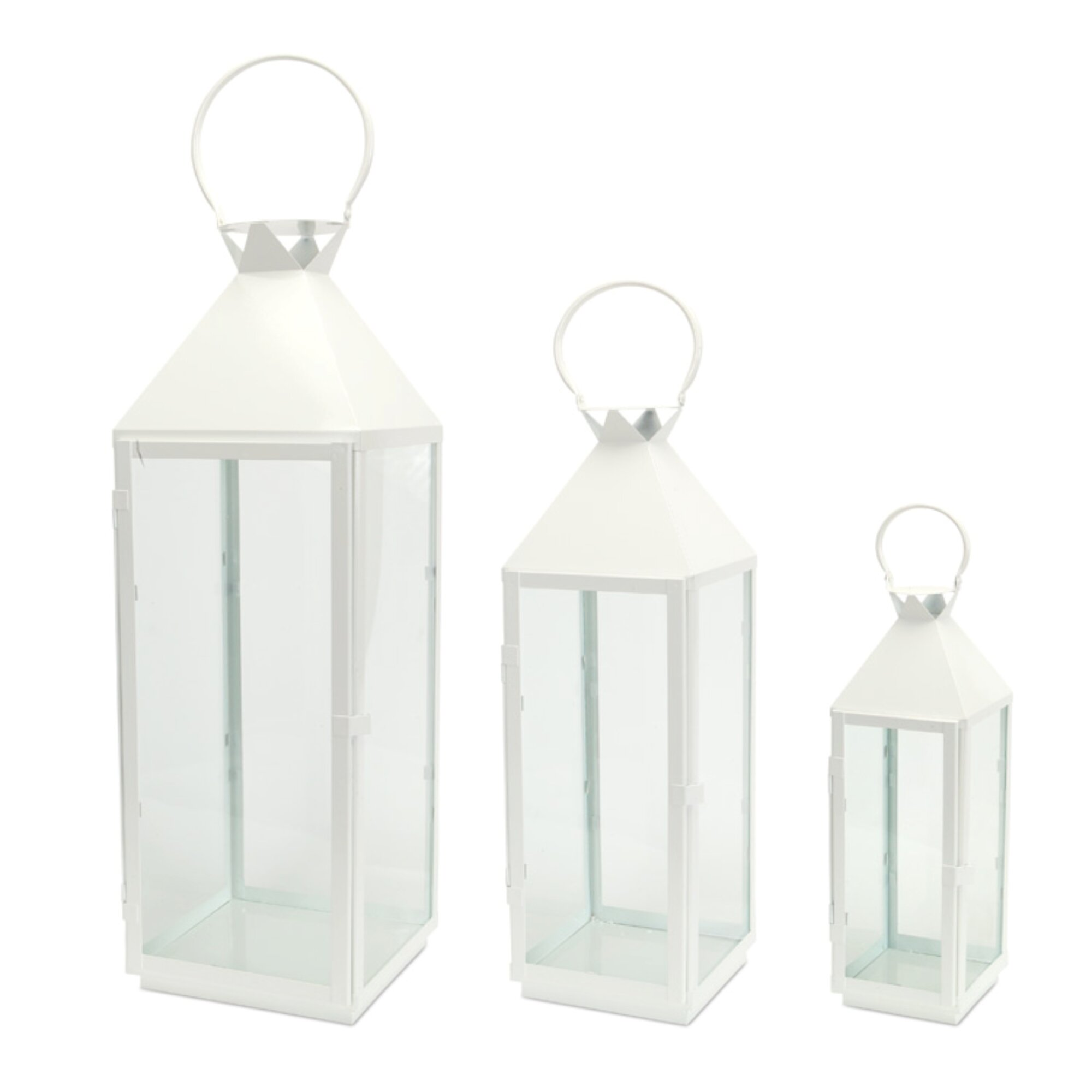 Longshore Tides 3 Piece Tall Metal Lantern Set Reviews Wayfair